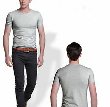 Men Fashion Round Collar T-shirt Casual Short Sleeve SKINNY Cotton Tee Stretchy Gray XL