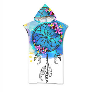Feather Dreamcatcher Swim Bath Beach Hooded Towel Coverup Poncho Adult Kids Gift