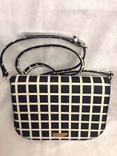 NWT Kate Spade Large Carsen Crossbody Handbag Laurel Way Check Black/White Khk/S