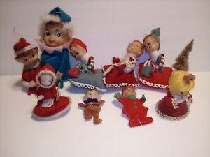 Vintage Lot of ELF KNEE HUGGER Elves Pixie  Felt Christmas Ornaments and others