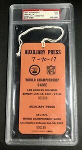 Super Bowl 1 1967 Ticket Auxiliary Pass Full PSA Pop 1