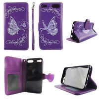 Flip Wallet Case Butterfly Purpl for ipod touch 5 6 Gen Cash id Slot Stand Cover