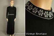 Vtg Black Goddess Boho Maxi Long Cocktail Dress Evening Gown w/ Silver Floral