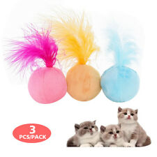 3pcs Catnip Interactive Cat Toy Teaser Feather Sound Ball Kitten Funny Play Toys