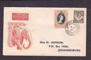 Northern Rhodesia 1953 FDC 1st day cover to South Africa QE II Coronation Hodson