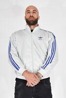 ADIDAS Vintage Felpa Sweatshirt Azzurra Con Bande Blu Poliestere TG XXL Uomo Man