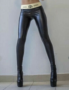 Leggins Catsuit Slim Leggings Pants schwarz High Waist Latex Hose S-XXL Gogo