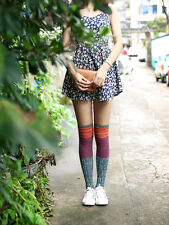 Comfortable Colourful Thick Cotton Mix Fair Isle Rib Knitted Over The Knee Socks