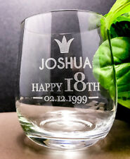 Personalised 18th Birthday Gift Engraved Crystal Stemless Wine Glass 11 Oz