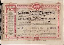 France 1909 Lottery Loterie Groupement Oeuvres Bienfaisance Arts Charity 20 fr