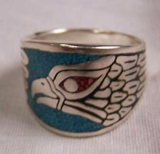 BAND WRAPED EAGLE HEAD FEATHERS NEW SILVER BIKER RING BR06R mens fashion jewelry