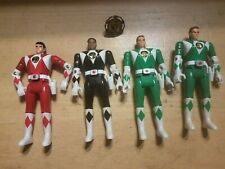 "Vintage Lot Of 4 Mighty Morphin Power Rangers 5.5"" Flip Head Action Figures 1993"