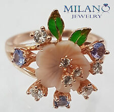 NATURAL TANZANITE MOTHER OF PEARL - WHITE CZ STERLING SILVER 925 RING