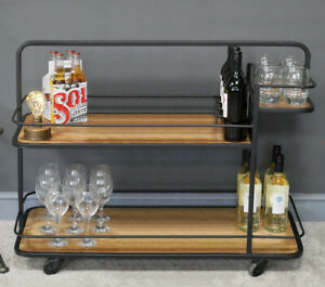 Industrial Style Portable Wine Trolley Drinks Bar Metal Wooden Stand 2 Tier NEW
