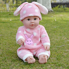 Lifelike Silicone Bebe Reborn Baby Girl Doll + Pink Rabbit Clothes 19'' Toy Gift