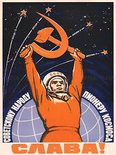 PROPAGANDA COSMONAUT GAGARIN USSR RED COMMUNISM LARGE POSTER ART PRINT BB2421A