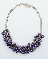 """Vintage Silver tone Cluster Purple Beads Necklace Estate Jewelry 17"""""""