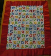 ALPHABET SOUP Flannel & Satin Baby/Toddler Security Blanket