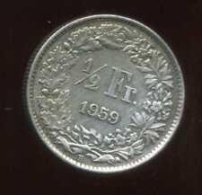 SUISSE 1/2 franc  1959  ARGENT