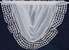 Gingham white swag with choices of navy, red, black cotton edging net curtain.