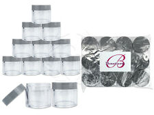 12 Pieces 30 Gram/30ml Plastic Clear Sample Jar Containers with Gray Flat Lids