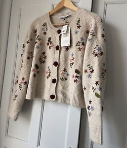 zara Floral Crochet Knit cardigan Size Medium BNWT