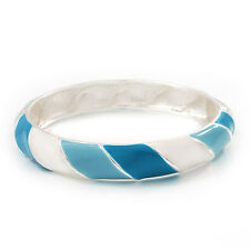 Light Blue/White Enamel Twisted Hinged Bangle Bracelet In Rhodium Plated Metal -