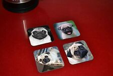 Cute Pugs Wooden Coaster Set