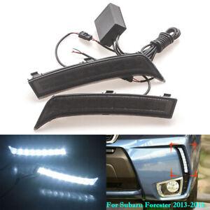 For Subaru Forester 2013-2018 LED White DRL Daytime Running Light Front Fog Lamp