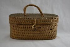 VINTAGE wicker sewing basket work basket with handles early C20th