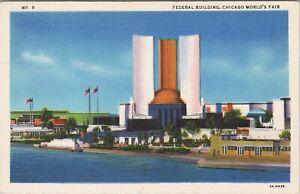 Linen Max Rigot  postcard,  Federal Building, Chicago World's Fair 1933