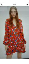 Zara Red Ditsy Floral Playsuit Wrap Dress Long Sleeve Short Sz L Bloggers Fave