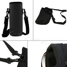 750ML Neoprene Water Bottle Carrier Insulated Cover Bag Holder Travel Black Hot