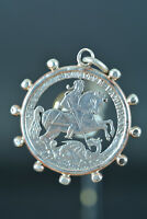 Rare Religious decade Pendant Medal St Georges sterling silver & pink silver