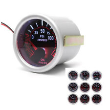 2'' 52mm Car LED Turbo Oil Pressure Gauge Meter Bar Smoke Tint Lens Red Needle