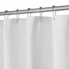 Waffle Weave Fabric Shower Curtain & RINGS Luxury Water Repellent White Pique