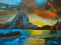 "HAWAII ARTIST,""PARADISE SUNSET"" Original oil painting signed ONE OF A KIND"