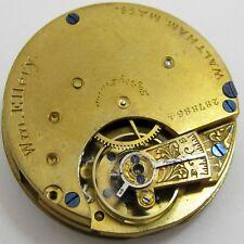 Pocket Watch Movement 8-6s model 1873 Waltham Wm. Ellery for parts . Hc