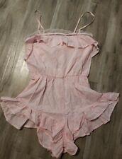 Victoria Secret Lingerie Romper Light Pink Ruffle Small *NWT*