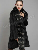 100% Real Genuine Knitted Mink Fur Long Coat Fox Collar Jacket Outwear Clothing
