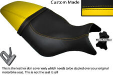 BLACK & YELLOW CUSTOM FITS BUELL CYCLONE M2 99-02 LEATHER DUAL SEAT COVER