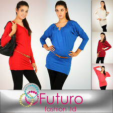 Lovely Tunic with Decorative Buckle Dress Batwing Style Long Top Size 8 -12 6019
