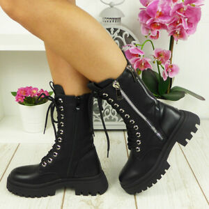 Ankle Boots Biker Ladies Womens Goth Lace Up Zip Rider Shoes Chunky Heel Size