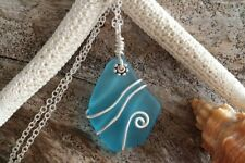 Handmade in Hawaii wire wrapped sea glass necklace,20 inch 925 sterling silver c