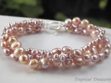 LILAC Cultured 3-Row Freshwater Pearl Bracelet - 925 SOLID Silver clasp