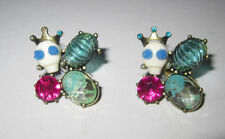 BETSEY JOHNSON SKULL WITH CROWN AND BLING EARRINGS