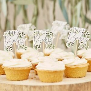 Hey Baby Shower Botanical Cupcake Toppers | Cake Decoration Gender Neutral  x12