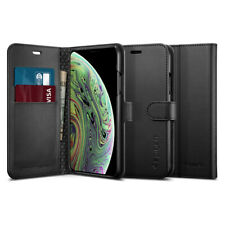 iPhone XS Case, Spigen Wallet S Leather Wallet Card Holder Cover - Black