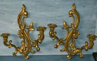 "2 Vintage SYROCO Dual Arm Wall Candle Sconces 16"" #3931 Gold MCM Hollywood Decor"