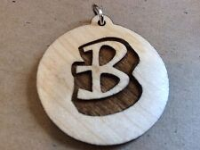 """B"" LETTER INITIAL ALPHABET 1.5"" PENDANT NECKLACE MAPLE WOOD BIRTHDAY BEST GIFT"